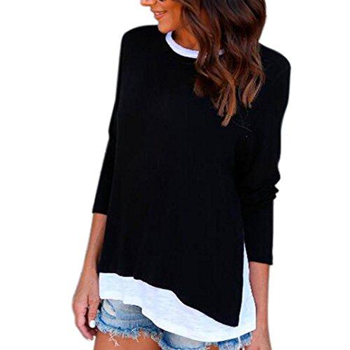 Damen Oberteile,DOLDOA O-Ausschnitt gefälschte zwei langärmeliges Bluse Pullover Gr.38 - 46 (EU:46, Schwarz - Gefälschte zwei langärmeliges Oberteile) (Fringe-hemd)