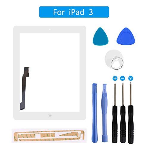 FLYLINKTECH Touchscreen für iPad 3 Weiß, LCD Display, Touchscreen, voller Front-Touchscreen Digitizer Glas Montage Reparatur Ersatzteile mit Home Button flexiblem Kabel und Werkzeuge