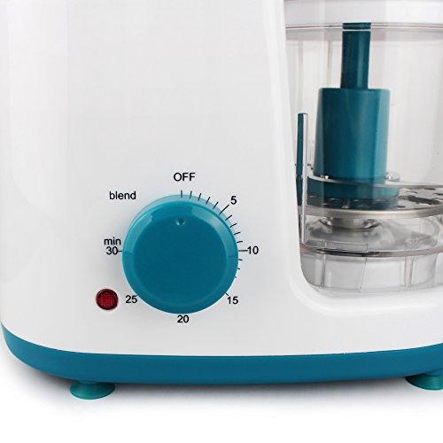 Leogreen - Baby-Küchenmaschine, Mixer für Babynahrung, Weiß/Blau, Funktion: 2 in 1 Dampfgarer und Mixer, Spannung: 220-240 V - 5
