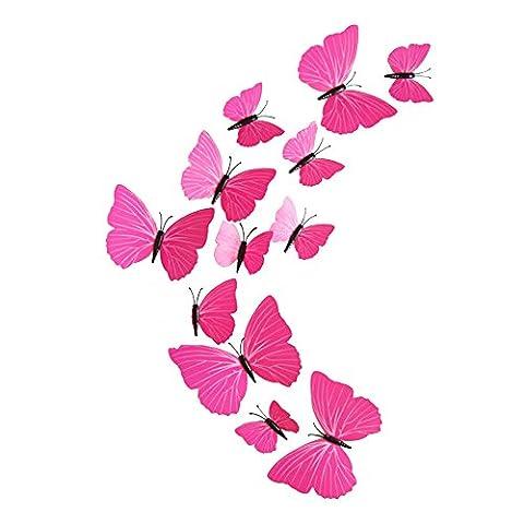 Eizur 12pcs Stickers Muraux de Papillons 3D Mural Autocollants Bricolage Aimant Papillon Amovible Réutilisable Art Design Pour Chambre Salon Décorations Cadeau--Rose