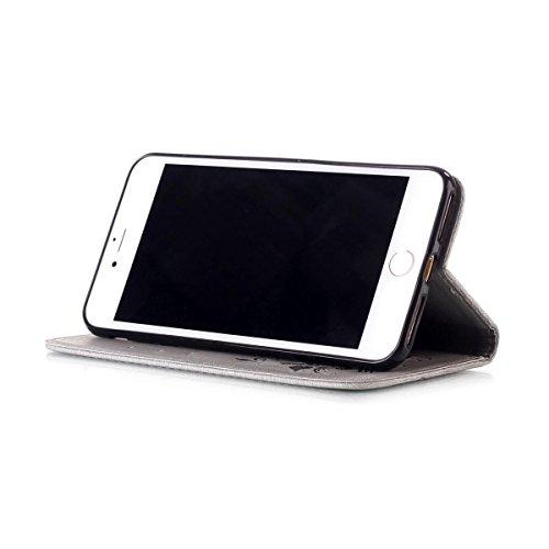 iPhone 8 Étui en cuir, iPhone 7 Housse de portefeuille, Lifetrut [Papillons en relief] Design Flip Folio portefeuille en cuir couverture de cas pour iPhone 8 / iPhone 7 [Bleu] E204-Gris