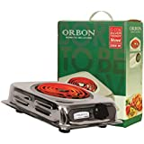 ORBON 2000 Watt Rectangular Silver Chrome G Coil Stove Hot Plate Induction Cooktop/Induction Cookers/Electric Cooking Heater/Induction Radient Cooktop ( MADE IN INDIA )( HUGE DIWALI DISCOUNT & FREE SHIPPING )