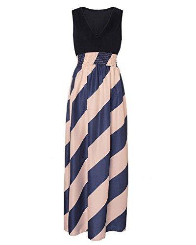 ZANZEA Femme Sexy Rayée Sans Manche Partie Robe de Longue Maxi Cocktail Soirée Bleu