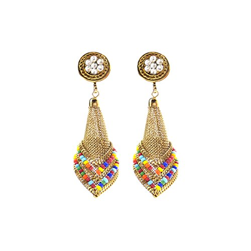 Luxaim Stylish Designer Gold Plated Dangle Drop Earrings for Girls, Women, Ladies with Dazzling White Moti Golden Ethnic Traditional Jhumka/Jhumki Dangle Earrings New Party Wear Fancy Special Fashion Wedding Collection Accessories Design at Low Price Cost Great for Jewellery Gift for Girlfriend & Sister  available at amazon for Rs.249