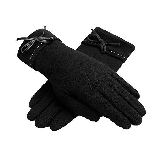 Nosterappou Gants d'hiver à écran Tactile et Gants d'automne et d'hiver en Velours, Doublure épaisse et Chaude (Couleur : Noir)