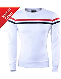 82ccc8c679bf Carisma - Pull Homme - Col Rond - Sweat - Blanc