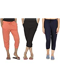 ACE Women's Casual Relaxed Fit Cotton 3/4th Capri Pants Set of 3 Assorted Multicolour Waist (26-32)
