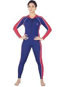 SK 003 Unisex Skating Suit Full Sleeves Full Length (NAVY-RED, 30)