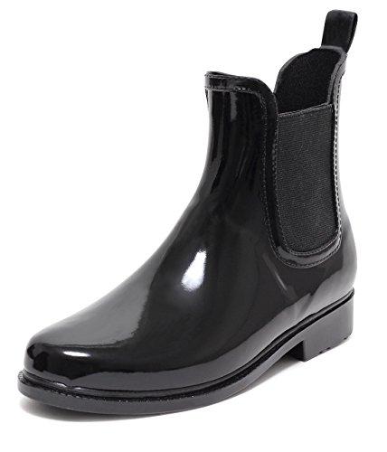 CHELSEA Rain Boot Regenstiefelette Gummistiefelette Regenstiefel Gummistiefel Reitstiefelette Stiefel SCHWARZ Gr. 37–41 (41)