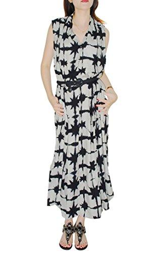 Oksakady Maxi Dress per le donne 2017 Nuovo vestito lungo di estate con la cinghia della vita e la tasca laterale style C