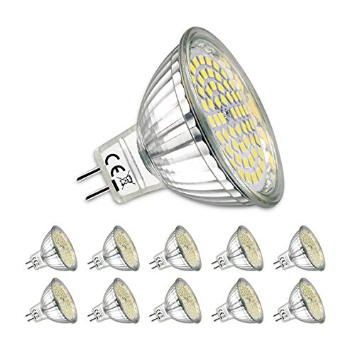 Tageslicht-led-spot-birne (MR16 LED Neutralweiss,10er MR16 GU5.3 12V LED Lampe,5W Neutralweiß 4000K Tageslicht Ersetzt 40W Glühlampe,Kein Stroboskopeffekt,420Lumen Birne Leuchtmittel,120° Abstrahwinkel Spot)