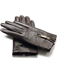 6cf521b4fa7637 napo gloves napoDONNA - Touchscreen Lederhandschuhe mit Reißverschluss für  Damen aus Lammnappa Leder in Braun mit