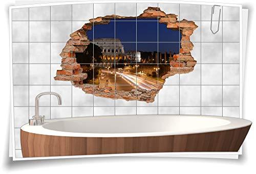 Medianlux 3D Fliesen-Aufkleber Fliesen-Bild Fliesen-Tattoo Fliesen-Sticker Wand-Durchbruch Nacht-Rom Antik Straße Lichter Beleuchtung Deko, 120x80cm, 20x25cm (BxH) - Antik-nacht-licht
