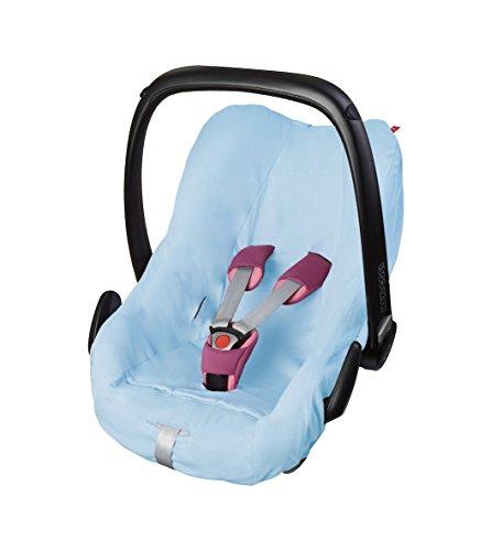 ByBoom® - Universal Sommerbezug, Schonbezug aus 100% Baumwolle, für Babyschale, Autositz, z.B. Maxi Cosi CabrioFix, City, Pebble; Designed in Germany, MADE IN EU, Farbe:Hellblau