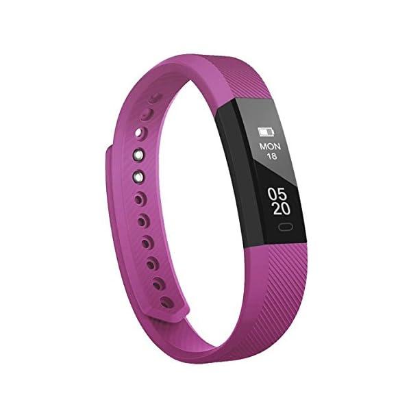 Fitness Tracker Pulsera Inteligente, RobotsDeal id115 Recordar de llamada con Bluetooth Remoto Disparador Automático Inteligente Reloj Podómetro Inalámbrico Actividad Tracker ( Púrpura) 1