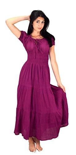 Peach Couture Damen Zigeuner Boho Vintage Tiered Renaissance Lang Kleid Maxikleid Sommerkleid Cocktailkleid (Large, - Kleider Renaissance Billig