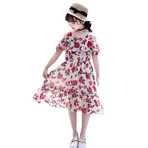 Quaan Kinder Teenager Kinder Mädchen Schulterfrei Rüschen Blumendruck Kleid Tageskleider Mädchen Abendkleid Spitzenkleid (Halloween-ideen Teenager Mädchen Für)
