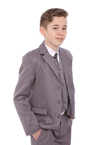 Nadelstreifen-5 Stück Anzug (Jungenanzug, hellgrau, Alter 1-15Jahre Gr. S, grau)