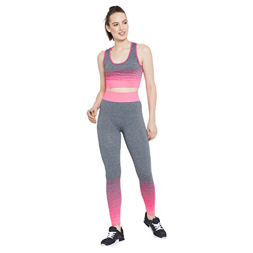 Camey Women 2 Pcs Sport Suits High Impact Sports Bra Yoga Pants Gym Outfits Breathable Exercise Stretchable Bra and Leggings (LT55_02.SET.PINK)