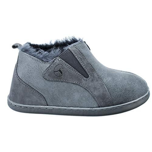 Estro Damen Hausschuhe Lammfell Pantoffeln Damen Leder Warm Winter Lammfellhausschuhe mit Wolle Royale (37, Grau)