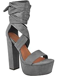 Sandali casual neri con allacciatura elasticizzata per donna Fashion thirsty
