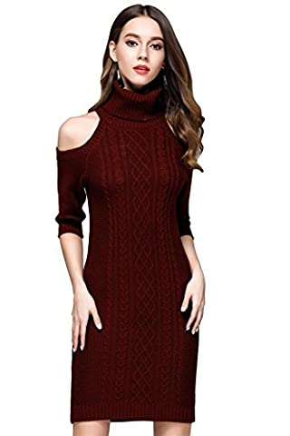 2017 Fall/Winter ICOCOPRO Women's Sexy Cold Shoulder Dress Knitted Sweater Half Sleeve Pullovers-WineRed-S