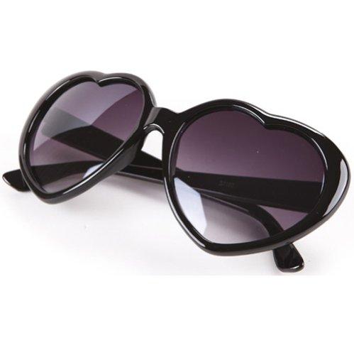 Liebeherz-Form Kunststoff Rahmen Retro-Stil Sonnenbrille Brille (Schwarz)