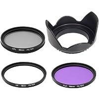 Lens Hood + UV + CPL + FLD Filter for Nikon Panasonic Lumix D7100 D7000 D5200 D5100 D3200 D3100 D3000 D90 Or for Canon 70D 60D 700D 650D 1100D 1000D 600D 50D 550D (58mm)