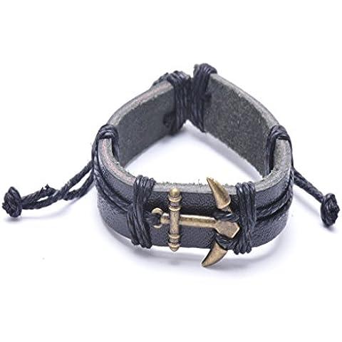 La joyería de hombre IPINK para mujer pulsera de cuero del encanto del ancla de la vendimia del brazalete