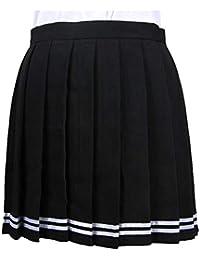 Yying Mujeres Retro Mini Falda Plisada Niñas Elástico Falda Corta Uniforme Escolar Plisado Skater Tenis Faldas Mini…