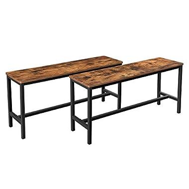 VASAGLE Sitzbänke für Esszimmertisch, 2er Set, Küchenbänke, Esstischbänke, 108 x 32,5 x 50 cm, Küche, Esszimmer, stabiles Eisengestell, Industrie-Design, Vintage, dunkelbraun KTB33X