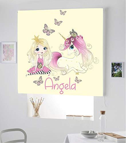 Desconocido Estor Infantil Enrollable TRANSLUCIDO Digital Princesa Unicornio para Poner TU Nombre¡¡Nuevo Estor Enrollable Infantil con Nombre A Todo Color DE Unicornio (Beige/Crema, 170X170)