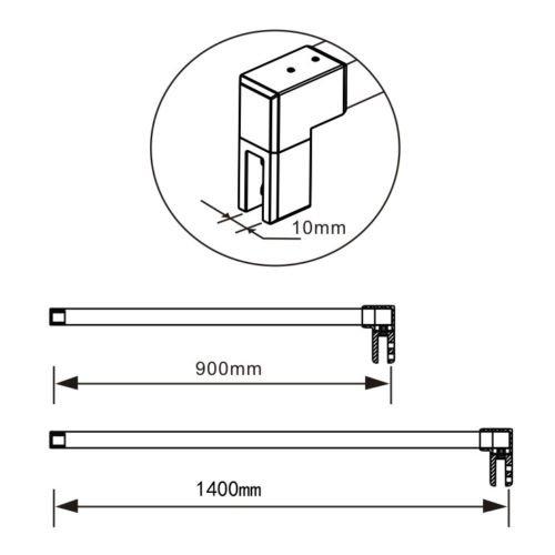 41ULKC1gTmL - Mampara ducha Panel Pantalla Fija cristal 8mm templado para baño (70x200cm)