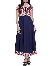 Fedput Women's Cotton Blue Printed Anarkali Kurta Kurti