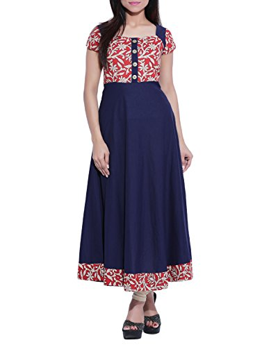 Fedput Women\'s Cotton Multicolor Anarkali Kurti Kurta
