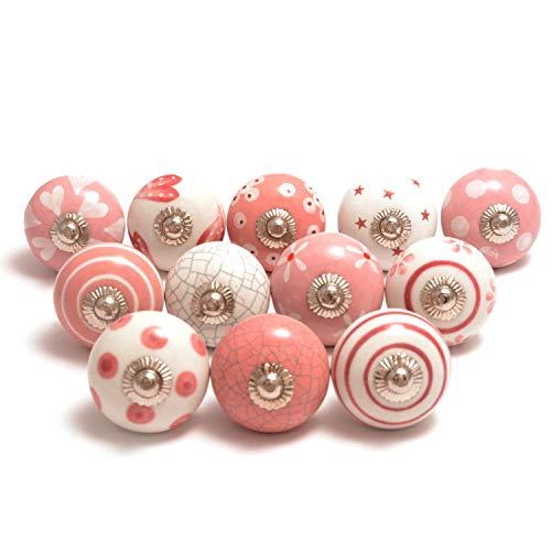 Hochwertige Keramik-Türgriffe - Verschiedene 12 Keramikknöpfe in Rosa und Weiß, gemischte Designs, Schranktürknöpfe, Schubladengriffe von The Boho Street.