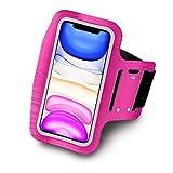 Fascia braccio running valido per smartphone fino a 6.8' fascia da braccio sportiva neoprene regolabile Velcro antisudore antiscivolo tasca per cuffie Chiavi (Fucsia)