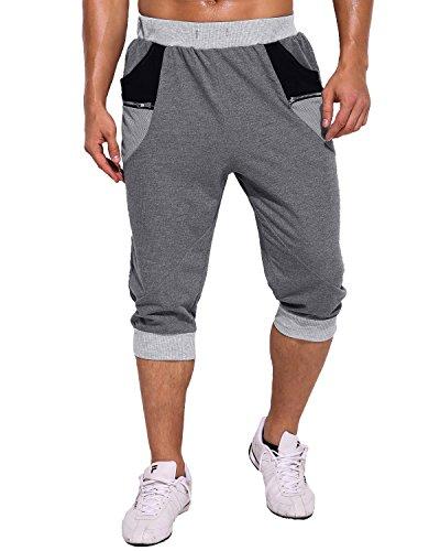 Modchok uomo pantaloncini sportivi bermuda jogging tasche sportivo casuale cordone 5grigio scuro m