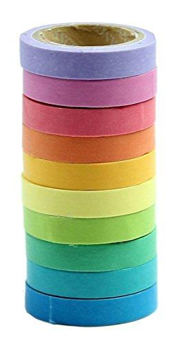 HONEARN 10 pcs Bricolage Décoratif Adhésif Autocollants Rainbow Paper Bande Papeterie Cadeau Scolaire (Couleurs Assorties) Multicolore