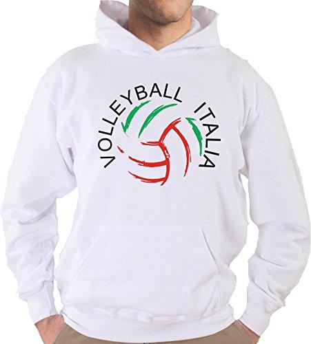 Settantallora - Felpa Con Cappuccio KJ1407 Volleyball Italia Bianco