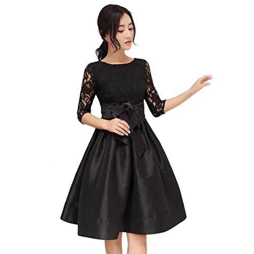 Patgoal Dress Donna Lace 3/4 manica aderente mini vestito da cocktail da sera Nero S-3XL
