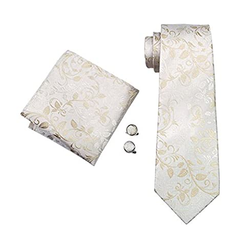 Mens Formal Paisley Striped Check Floral 100% Silk Woven Neck Tie, Pocket Square Hanky Cufflink Set (Ivory White)