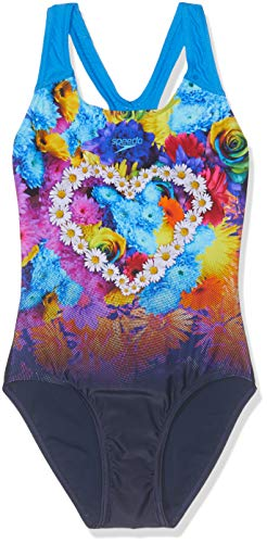 Speedo HippyHop Placement Digital Splashback Bañador, Niñas, Azul Marino hippypop/Aqua Splash, 30