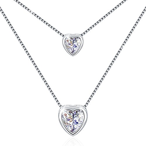 "♛J.Rosée♛ Necklace 925 Sterling Silver ""Double Layer Hearts"" 5A Cubic Zirconia Pendant Necklace 45CM (18in) Box Chains with Extender and Exquisite Gift Package Best Gift for Her"