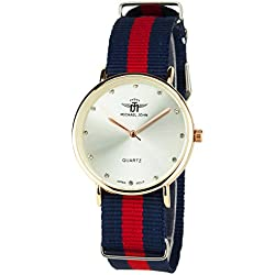 MICHAEL JOHN -Women's Watch SILVER GOLD ROSE Quartz Steel Case Analogue Display Band NYLON BLUE RED