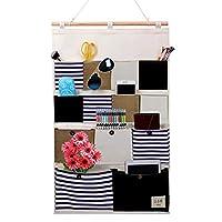 IvyH 13 Pockets Hanging Storage Bag,Cotton Linen Fabric Wall Door Closet Organiser Bag