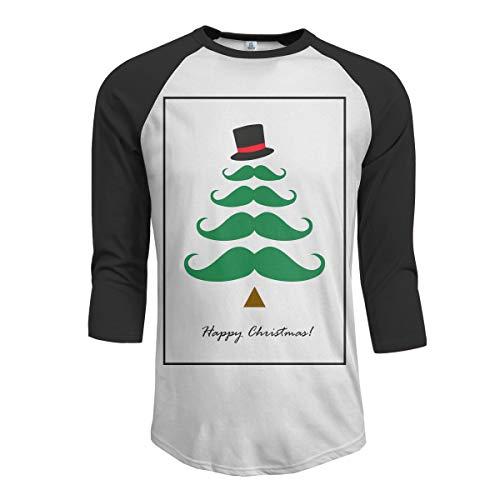 urrbart-Baum-glückliche Weihnachtsmänner Raglan-Hülsen Baseball-T-Shirts Beardbrand-Öl-T-Shirt Männer Teebaum-Wachs-Hemd Männer Schwarz S ()
