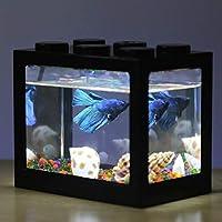 Tonglisen Useful Fish Fighting Cylinder Rumble Fish Cylinder Mini Aquarium Building Block Fish Tank Products(None BK)