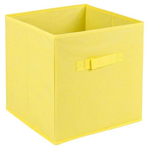 Caja de almacenamiento plegable con asas de transporte, Amarillo, Medium