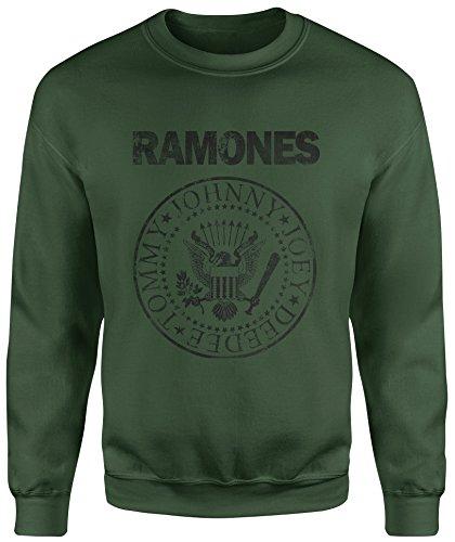 Felpa Unisex Ramones Grunge Black Print - Felpa Set in girocollo LaMAGLIERIA Verde